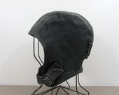 Vintage Aviator Motorcycle Skull Cap - Black leather - Chin Buckle - 1980s