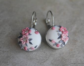 Gorgeous Polymer Clay Applique Statement Earrings in Pink and White
