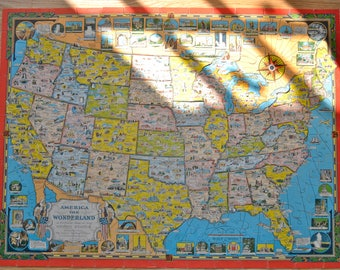 1941 Pictorial Jig Saw Puzzle Map Of The United States Vintage Map Puzzle Of The