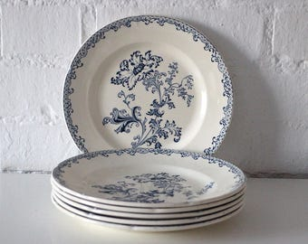 Antique French Ironstone Blue Transferware Plates - Blue Transferware - Faience -  Earthenware
