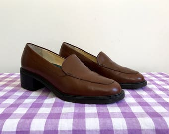 vintage chunky chocolate Bass leather loafers - US women's 6 - Free Shipping!