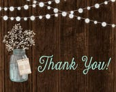 Babys Breath Wedding Thank You Cards, String Light Wedding Invites, Barn Wood Invitation, Custom Listing for krismcd55