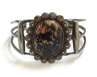 Vintage Native American Petrified Wood Sterling Silver Cuff Bracelet C1940s Navajo