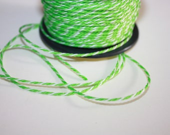 1.5 mm TWISTED GREEN and WHITE mix Cord = 1 Spool= 55 Yards= 50 Meters of Elegant Polypropylene Rope for Macrame, Sewing,Crocheting,Knitting