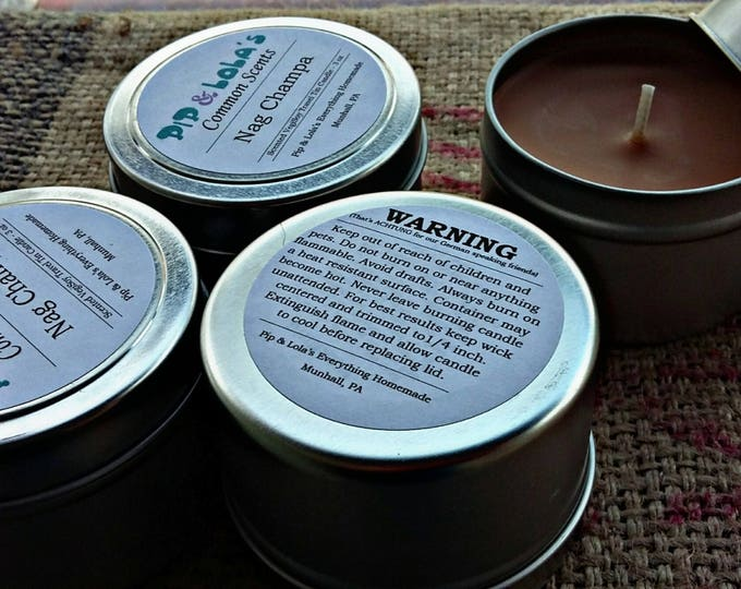 Nag Champa Scented Travel Tin Candle - Pip & Lola's Common Scents - Soy Candle Wax, Travel Tin, Soy Wax, EcoSoy, Candle, Lightly Scented
