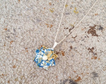 Origami Jewelry - Japanese Origami Flower Necklace with 925 sterling silver No.03541