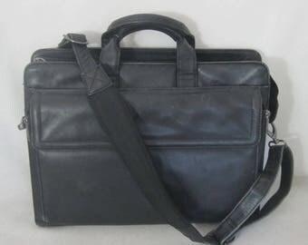 DILANA black distressed leather VINTAGE cross body messenger briefcase