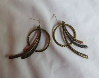 Copper, Gold, and Silver Dangles, earrings, copper, dangle, gold, silver