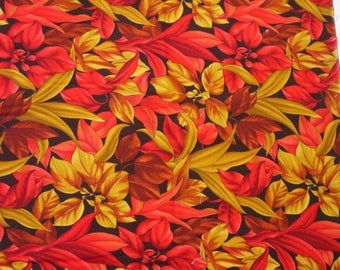 "Beautiful Vintage Cotton Fabric Alexander Henry ""Tonal Leaves"" Bright Tropical 2 Yards 42"" Wide"