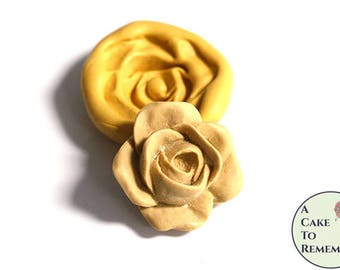 "2"" rose silicone mold for fondant and gumpaste cupcake toppers. Polymer clay, resin, utee, soap embeds, craft mold for rustic cakes M5167"