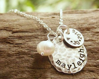 Mother Necklace, Kids Name Necklace, Hand Stamped Disc Necklace with Birth Date and Birthstone, Personalized Jewelry