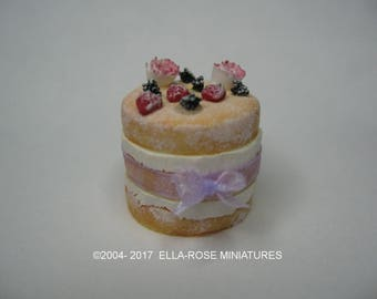 Naked Tiered Sponge Cake 12th scale miniature