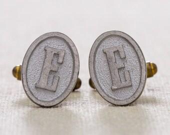 "E Cuff Links Vintage Cufflinks Letter ""E"" Initial Monogram 1960s Groom Accessory Mens Silver Oval 7UU"