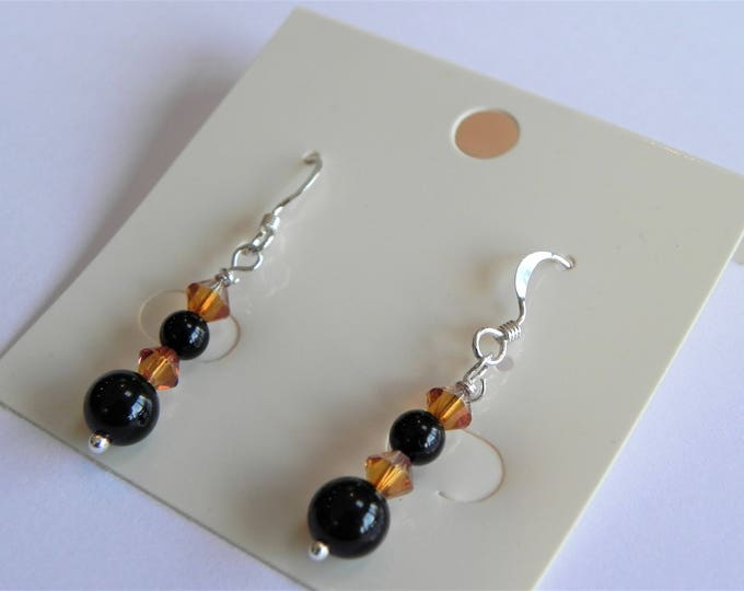 Black onyx and amber/copper coloured Swarovski crystal sterling silver drop earrings
