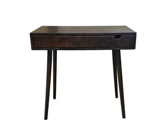 Mid Century Tiny Desk with Drawer Solid Wood - MADE TO ORDER 90 days