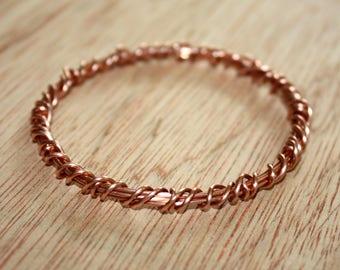 Copper Bangle - Wire Wrapped Bangle Bracelet - Copper Wire Bangle - Solid Copper Wire Bracelet - 7th Anniversary Gift - Stacking Bracelet