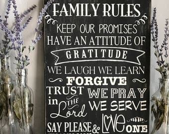 Family Rules Handpainted Wood Sign