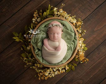 Digital Newborn Backdrop- JPEG Files, Rustic, Wooden, Bowl, Green, Floral, Gender Neutral, Boy or Girl
