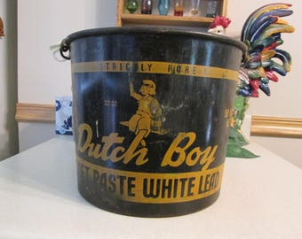 Vintage Dutch Boy Metal 50 lb Bucket, Mfg Dutch Boy Paint Company, Farm Bucket, Garden Bucket with Handle, Rustic Decor Collectible