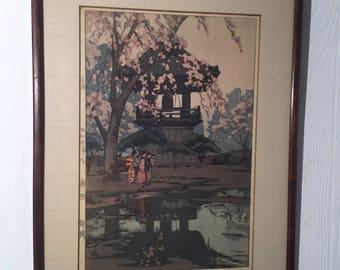 "Vintage Hiroshi Yoshida Signed Japanese Woodblock Print ""In a Temple Yard"" Asian Art"