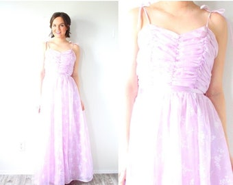20% OFF JULY 4th SALE Vintage Xs purple 50's prom dress // maxi length dress // purple floral dress // tulle ball gown // rock ability dress
