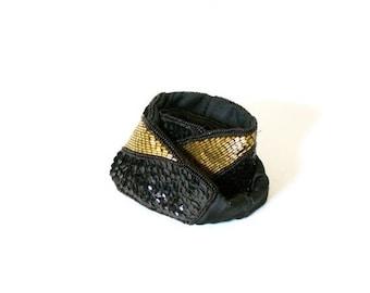40% OFF CHRISTMAS in JULY Vintage black and gold glitter belt // 80's large belt // old school retro glitter beaded Bold pattern belt // Boh