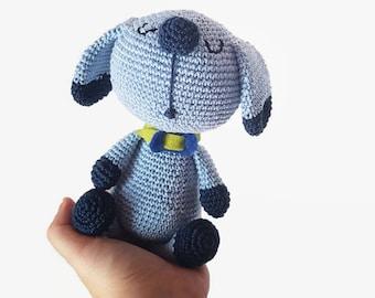 Blue Soft toy amigurumi  dog for children, amigurumi puppy baby shower gift, new bor present, Waldorf puppy plush puppy dog