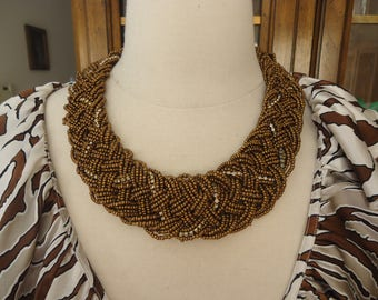 "Vintage Woven Glass and Rhinestone Beaded 18"" - 21"" Choker/Necklace, Brown w/ Clear Stones, 1 3/4"" Wide"