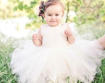 flower girl dress, flower girl dresses, ivory flower girl dress, cream flower girl dress, lace girls dress, rustic wedding, tulle dress