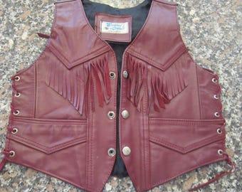 vintage fringed leather vest mexico sz sm mint condition