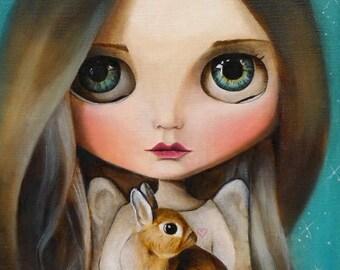 On Sale Animals angel, pop surrealism Fine Art Print, Girl portrait, big eyed, wall decor,little girl, queer artfairy tale whimsical art  in