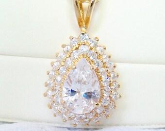 Zircon Gemstone Pendant Necklace Vintage Wedding Jewelry Jewellery Art Deco Hollywood Regency Gift Guide Women April Birthday