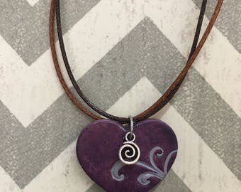 Touch my heart stoneware pendant necklace