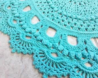 Good Oval Crochet Rug   Turquoise Little Rugs   Cotton Crochet Rug   Handmade Rug    Natural