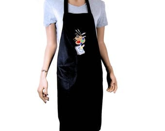 Artist Stack Embroidered Logo Pocket Black Chef Apron MTCoffinz - Ready to Ship