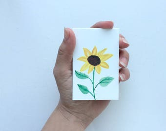 4 Sunflower Gift Tags / Sunflower Cards / Set of 4 / Small Sunflower Cards / Mini Sunflower Cards / Paper Sunflower Tag / Note Cards
