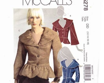 McCalls 5278 Sz 12-18 Miss Lined Jackets Princess Seams Sleeve Variations Uncut Sewing Pattern
