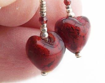 Murano Puffed Heart Garnet Red Glass Earrings, Italian Glass Heart Silver Foil Center Bead Earrings, Heart Gift for Her, Mini Earrings