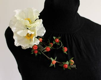 Flower and Berry Corsage - White Poppy and Raspberry Vine Large Statement Brooch