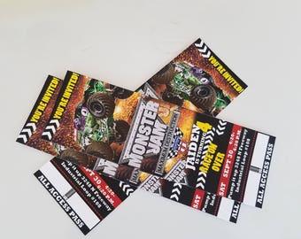 Personalized Birthday Ticket Invitations, Monster Truck Invitations, Birthday Boy Ticket Invitations, Set of 20