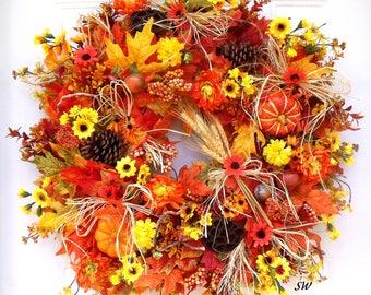 "Fall Leaf Wreath, Pumpkin Wreath, Orange, Yellows, Door Wreath, Wall Wreath, 24"" Wreath, Wheat Raffia Wreath, Lotus Pods, Fall Flowers"
