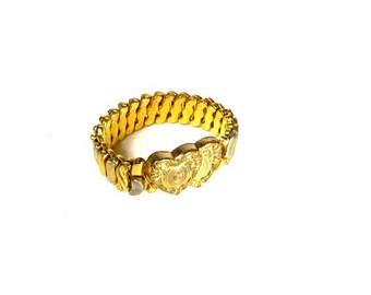 Sweetheart Bracelet World War 2 Era 1940s Double Heart Phoenix Speidel Sweet Heart Bracelet Retro Jewelry