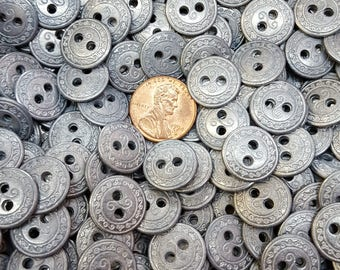 13MM pewter scroll pattern reversible Shirt Buttons Metal sew on 20L 18 each 2 hole large 3mm holes wrap bracelet clasp