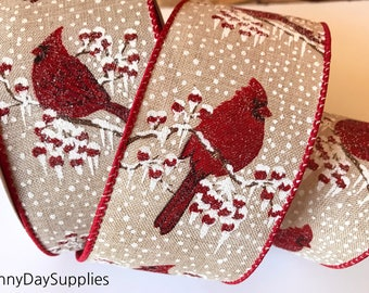 Wired Glitter Red Birds Ribbon, Cardinals Christmas Ribbon, Flocked, Vintage inspired, Linen style, 2 YARDS, 2.5 in. wide, Bows, wreaths