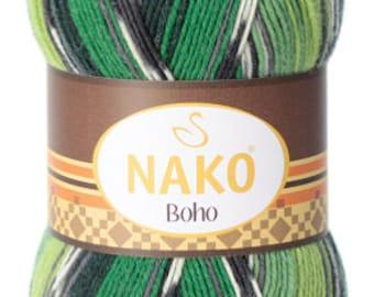 Boho, multicolor yarn, color changing yarn, winter yarn, soft yarn, 400 grams, 4 balls of yarn