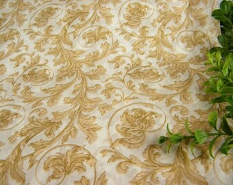 "Cream & Beige Flourish Leaf Pattern Print Tissue Paper Sheets | Elegant Gift Wrap paper | Luxury Wrapping Paper | 20"" x 30""  Craft Supply"