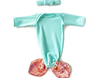 Mermaid Baby Gown Seafoam