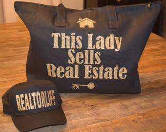 This Lady Sells Real Estate Glitter Bag