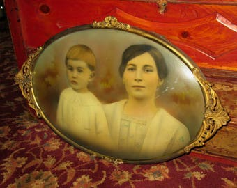 Vintage Antique Convex Oval Picture Frame Gold Gesso Bubble Glass Victorian 20 x 15