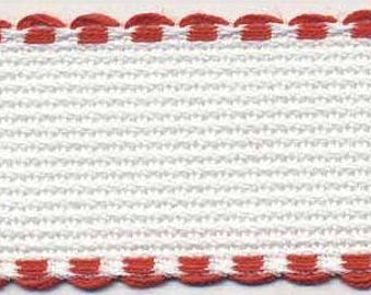 Cross Stitch Banding Aida with Red Trimming x 1 metre long